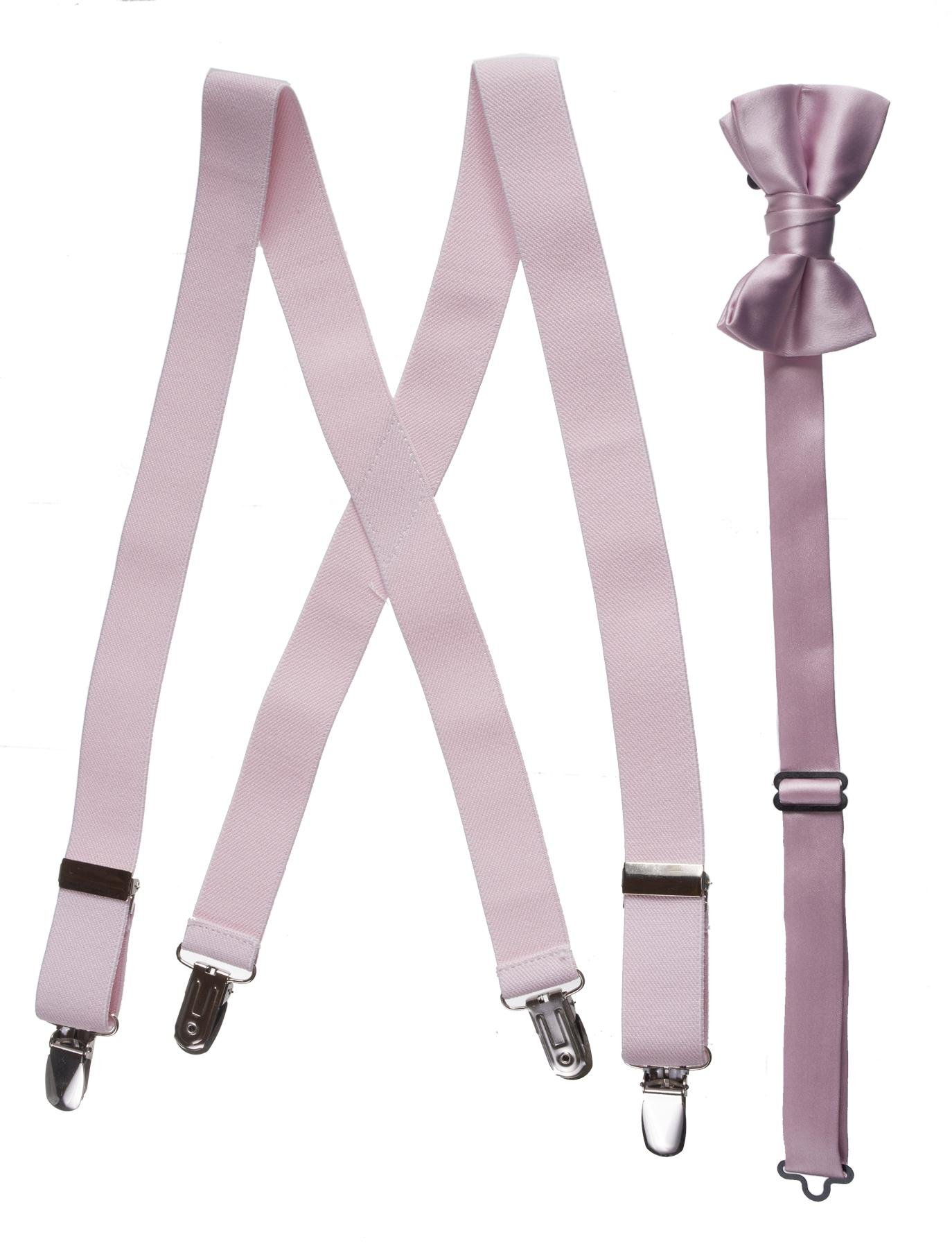 Matching Blush Pink Adjustable Suspender and Bow Tie Sets, Kids to Adults Sizing (Boys 30'' (Ages 6-10)))