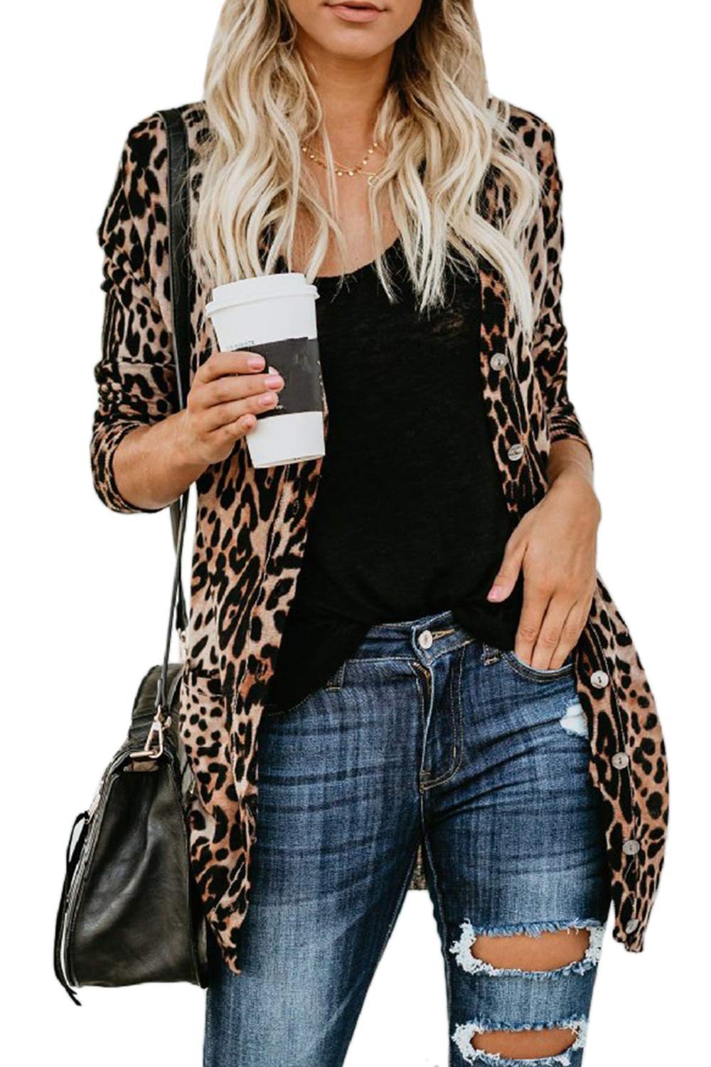 Suvotimo Womens Casual Open Front Long Sleeve Velet Leopard Print Cardigan