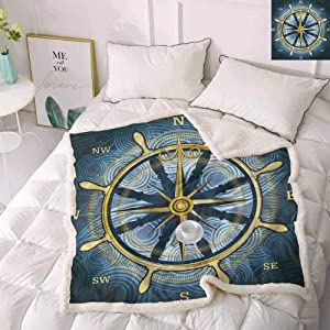 Zara Henry Compass Christmas Throw Blankets, Hand Drawn Compass with The Face of The Sun on Directions North South East West Sailing Pet Fleece Blanket Grey