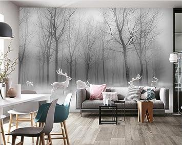 Wxlsl 3D Tapete Wald Elch Zusammenfassung Holz Schwarz Und ...