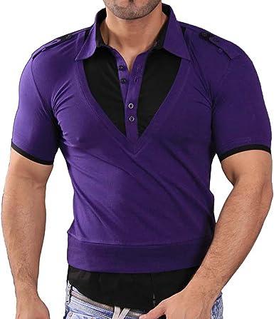 Rusty Neal Manga Corta – Camiseta de Polo Polo Camisa Style Lila/Negro RN de 3191: Amazon.es: Ropa y accesorios