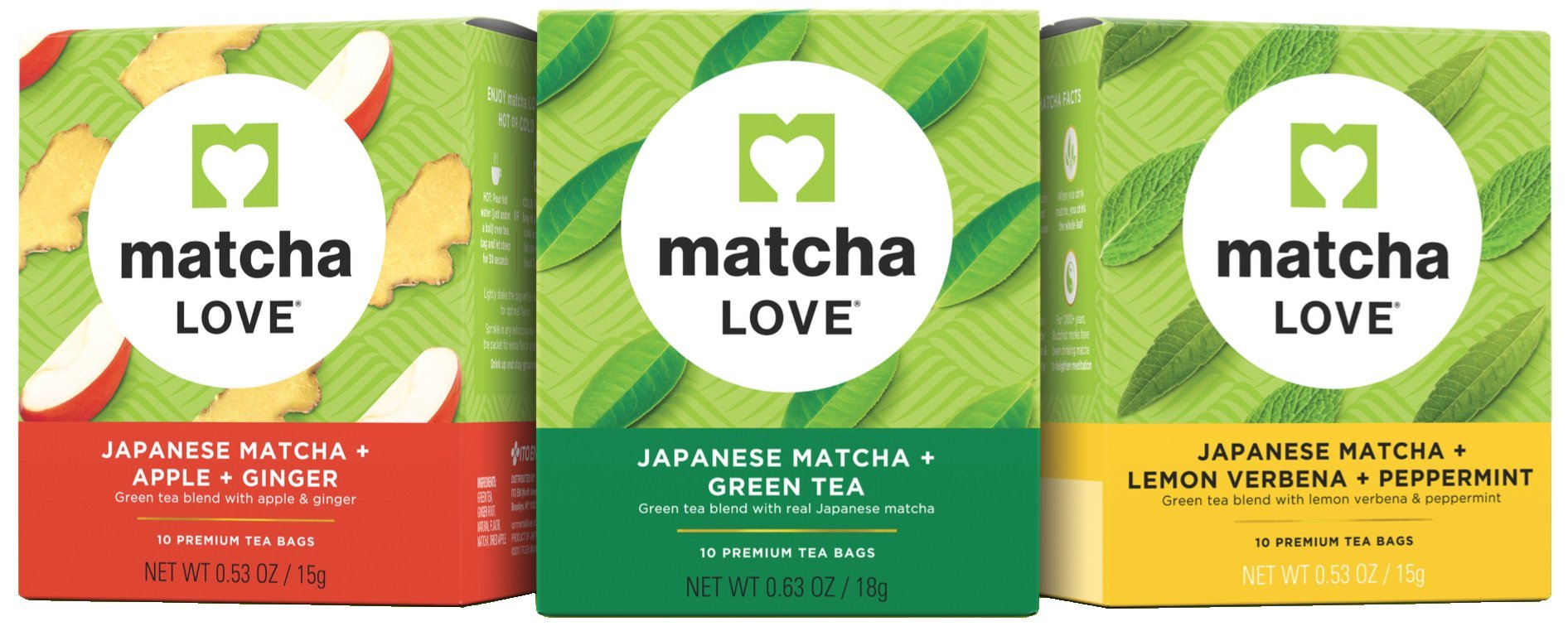 Matcha Love Japanese Matcha Premium Tea Bags Variety Pack, 10 per box (Pack of 3)