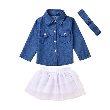 779b3b26 Amazon.com: Gprince Baby Toddler Girls Denim Shirt Tops Tulle Tutu ...