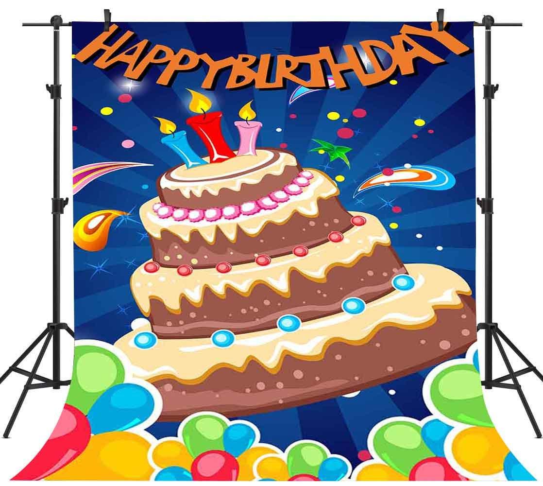 FH 5 x 7ft誕生日ケーキ写真バックドロップCandleバルーン背景背景Youtubeテーマパーティー写真ブース小道具Studio tmfh182   B07D6ZG8Q6