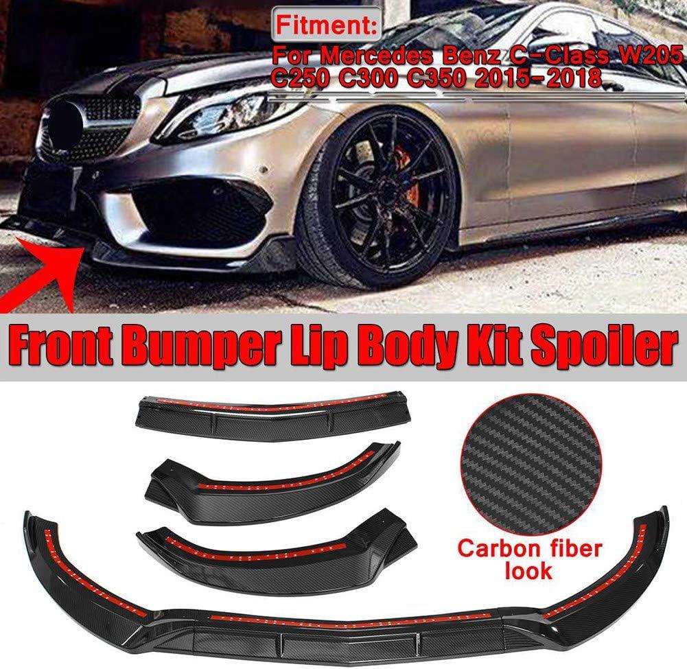 3 Stücke Pp Auto Front Lip Chin Stoßstange Body Kits Deflector Spoiler Splitter Diffusor Außen Für Benz C Klasse W205 C250 C300 C350 2015 2018 Küche Haushalt