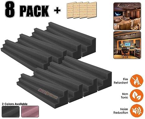 Acepunch 8 piezas NEGRO Acústico Columna Cuña Studio Esquina Wall Espuma Block 12 X 12 X