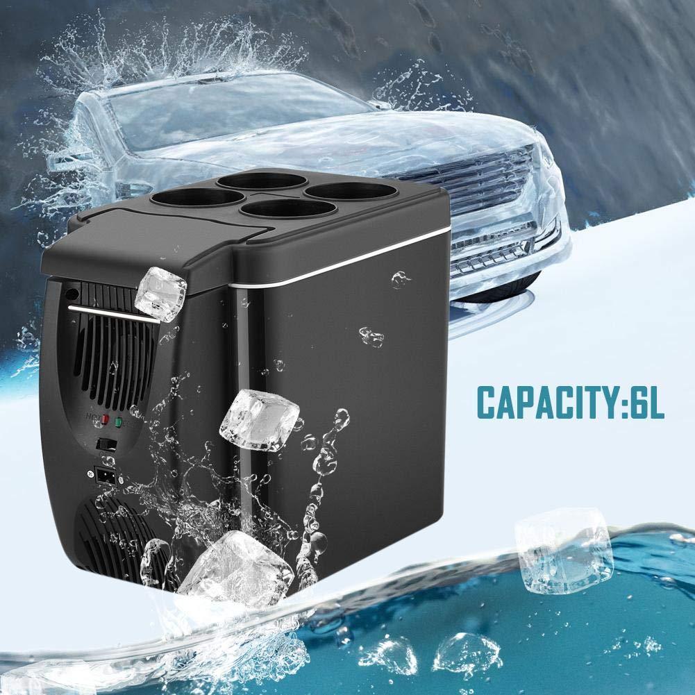 12V Refrigerador del Coche Caja el/éctrica fr/ía Mini congelador 6L Caja de Hielo port/átil Refrigerador de Viaje Calentador de Caja m/ás fr/ía para Camping Picnic Playa