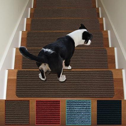 Stair Treads Non Slip Carpet Indoor Set Of 13 Brown Carpet Stair Tread  Treads Stair
