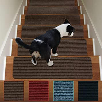 Stair Carpet Treads Non Slip Set Of 13 Indoor Stair Tread Rugs Mats Rubber  Backing (