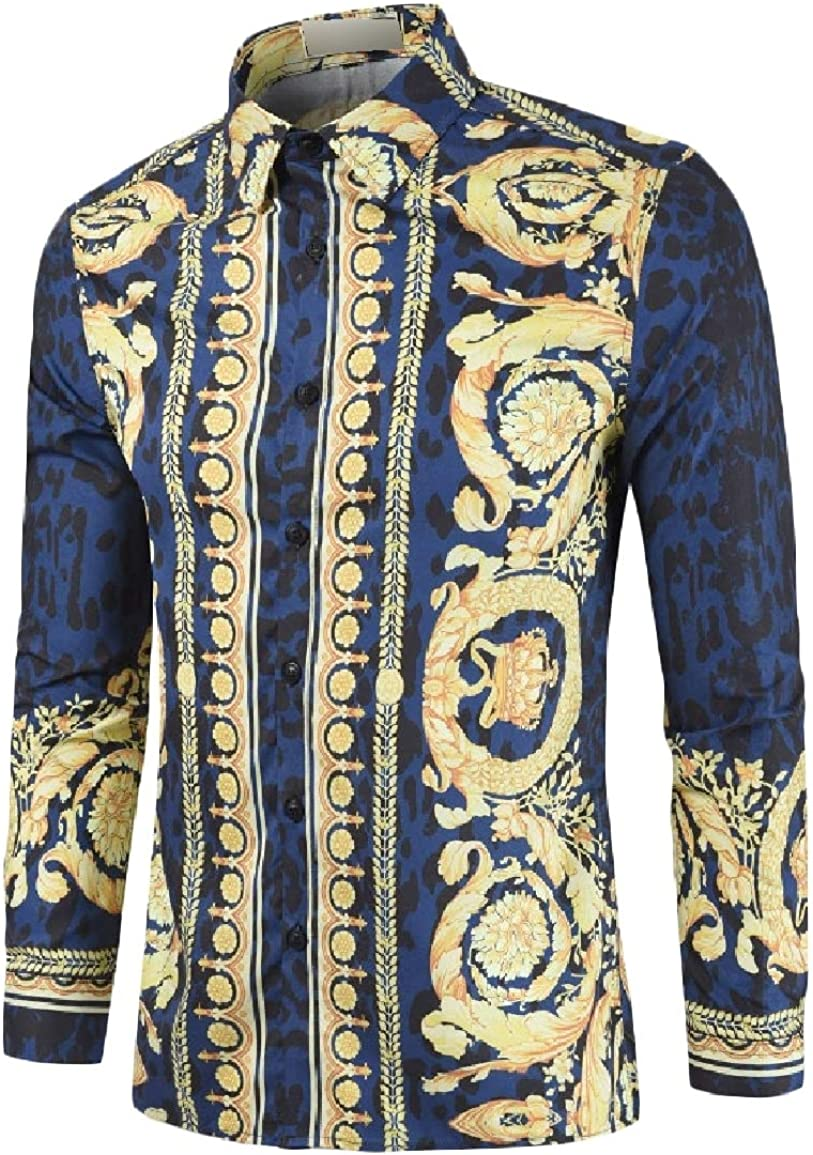 Nicelly Men Ethnic Style Slim Fit Lapel Button Printed Long-Sleeve Tees Top Shirts