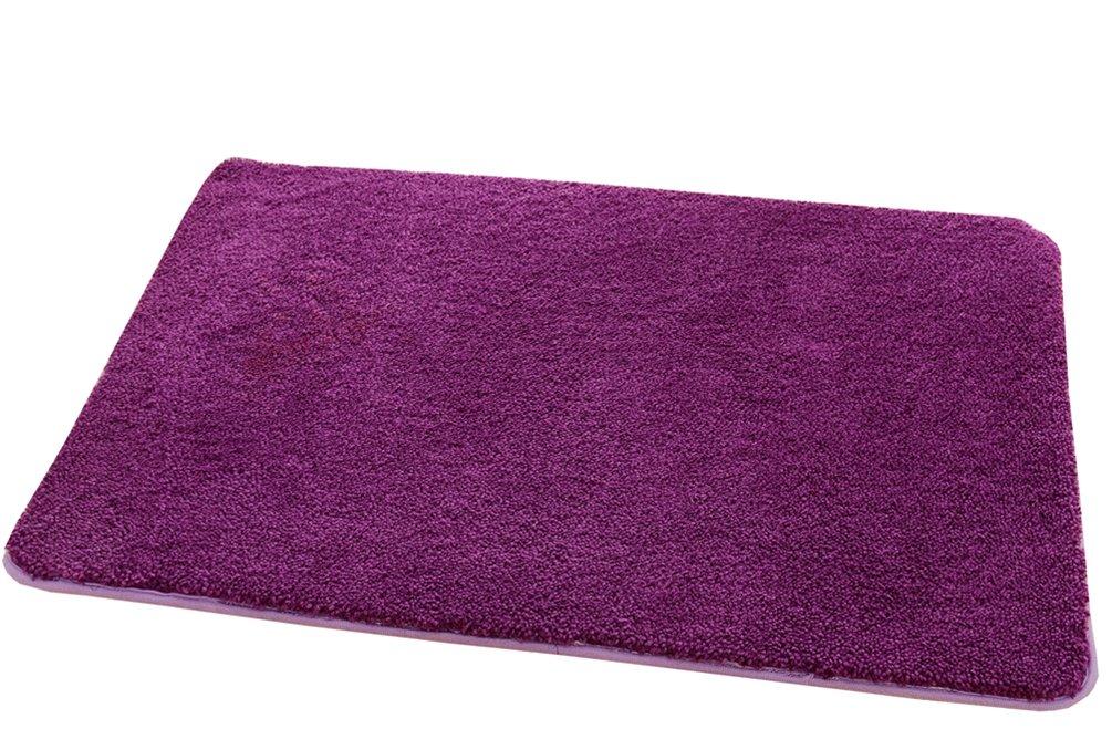 ZebraSmile Upgraded 15.7 X 23.6In Washable Micro Fiber Shower Room Rug Super Soft Flocking Bath Mat Entry Door Carpet Entryway Inside Rug for Restroom Indoor Doormat with Non Slip Back/Purple