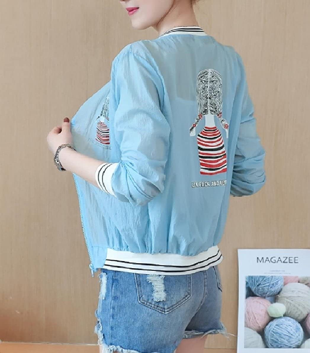 YUNY Womens Zip Patterned Bomber Sun Protection Overcoat Jackets Blue XL