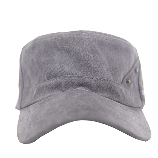 02b84b7c736 ChezAbbey Men s Cotton Flat Top Peaked Baseball Twill Cap Solid Brim Cadet Military  Hat Visor
