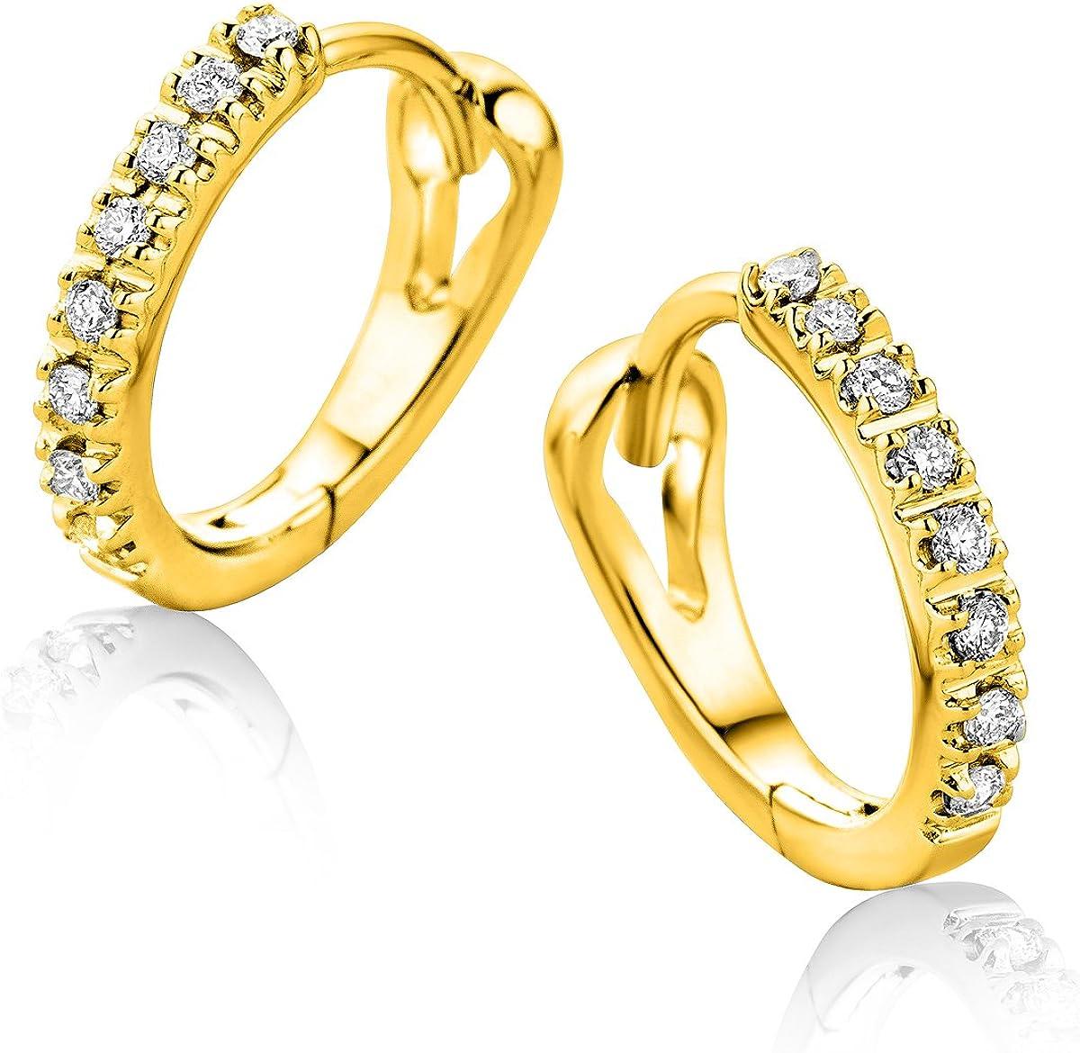 Orovi Pendientes Señora aros en Oro Amarillo con Diamantes Talla Brillante 0.10 ct Oro 9 Kt / 375