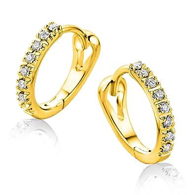 e0160c11fb70 Orovi Pendientes Señora aros en Oro Amarillo con Diamantes Talla Brillante  0.10 ct Oro 9 Kt   375  Amazon.es  Joyería