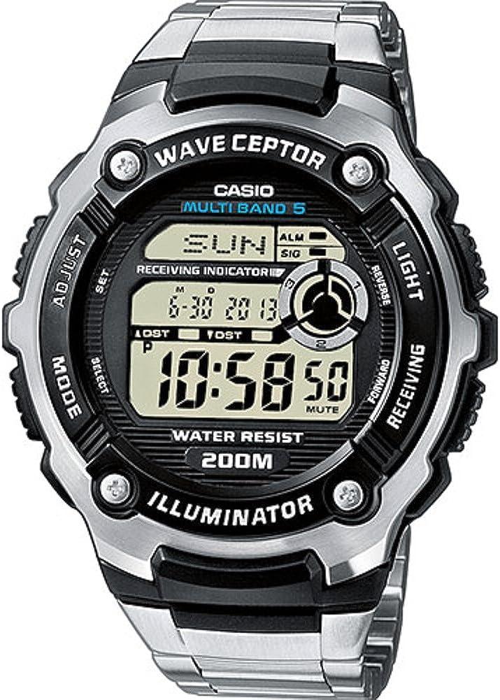 Casio WAVE CEPTOR Reloj Radiocontrolado, Negro, para Hombre, con Correa de Acero inoxidable, WV-200DE-1AVER
