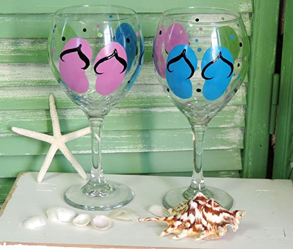 662c9f37b93c Image Unavailable. Image not available for. Color  Hand Painted Large Flip  Flop Wine Glass ...