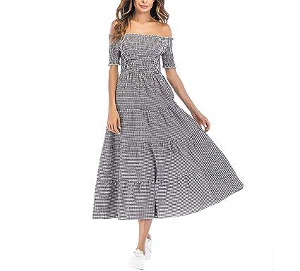 Maxi Vintage Plaid Checked Long Cotton Off Shoulder Ruched Elastic Ladies Dresses Vestidos,Black,
