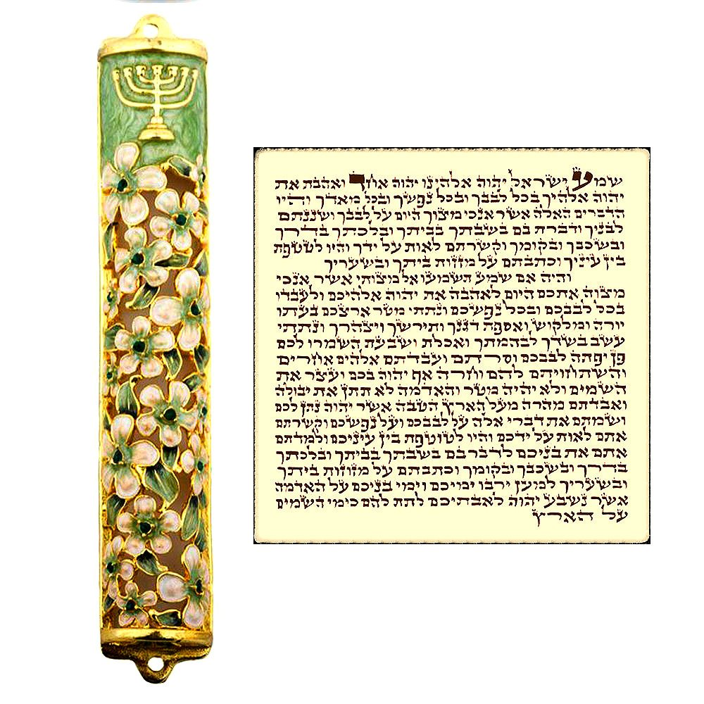 Talisman4U Green Ivory Enamel MEZUZAH CASE with Scroll Hebrew Parchment Menorah Judaica Door Mezuza Made In Israel 9 cm by Talisman4U