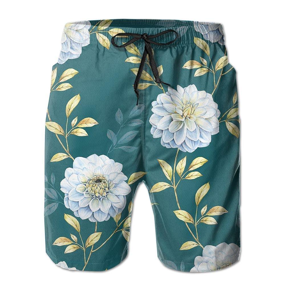 Mens Flower Pattern Shorts Elastic Waist Pockets Lightweight Beach Shorts Boardshort