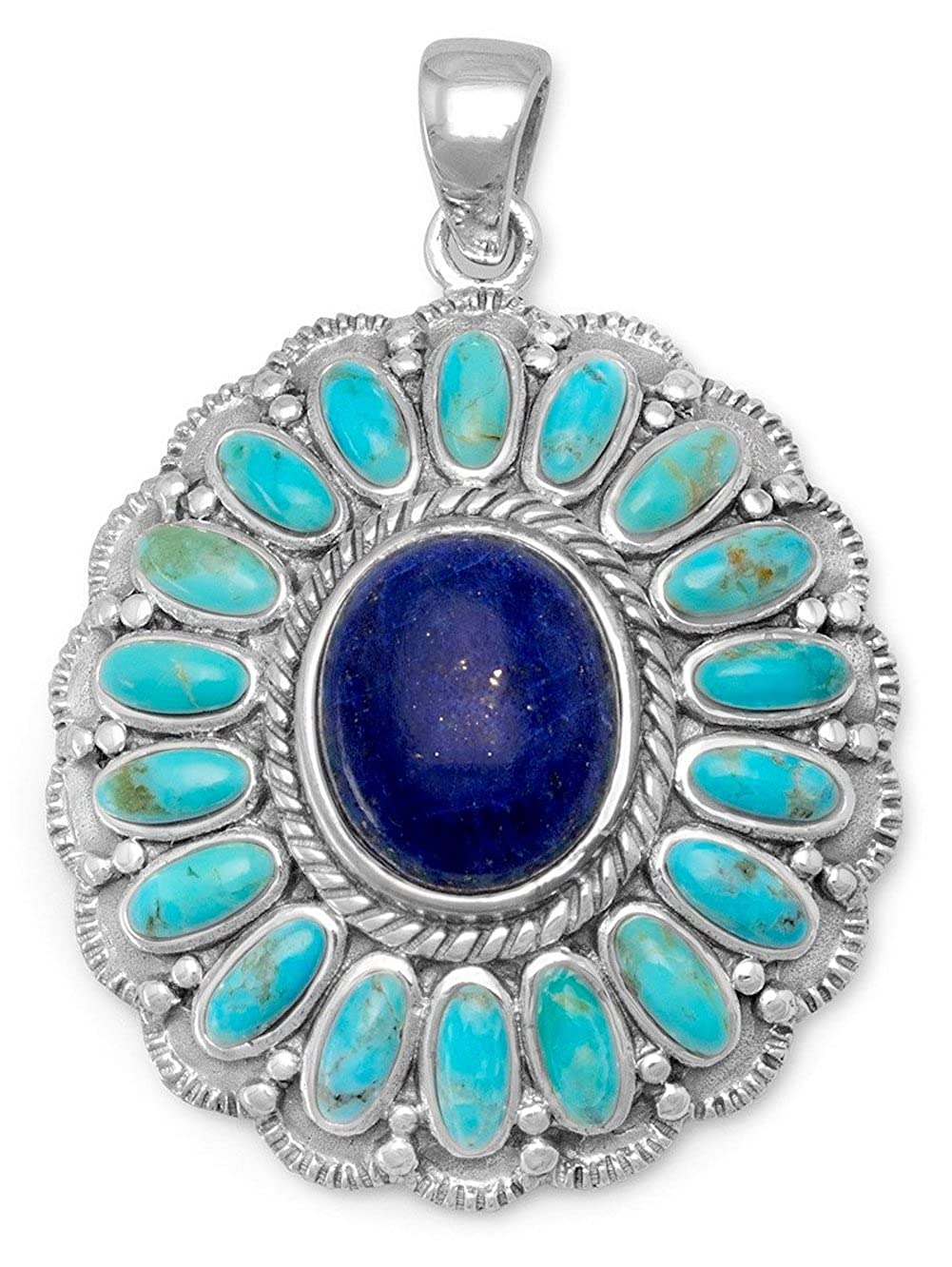 including bail Flower 2x5mm Turquoise//10x12mm Lapis Lazuli 1-1//2 inch Oxidized Sterling Pendant