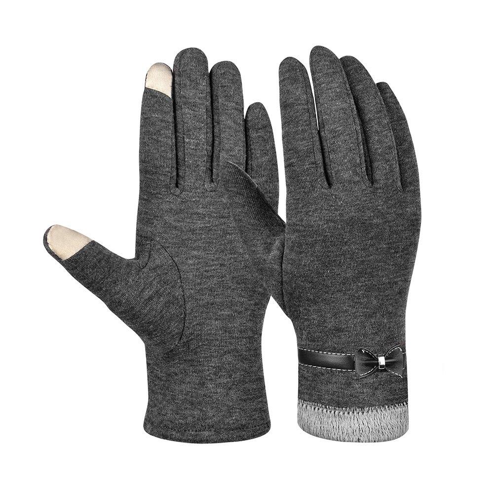 Vbiger Damen Handschuhe Winterhandschuhe Fahrradhandschuhe Damen Touchscreen Handschuhe Warme Winter Handschuhe mit Fleecefutter, Grau 1, Einheitsgröße