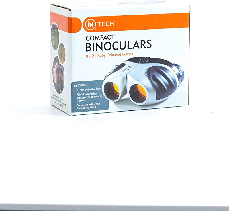 Ruby Coloured Lenses Compact Binoculars