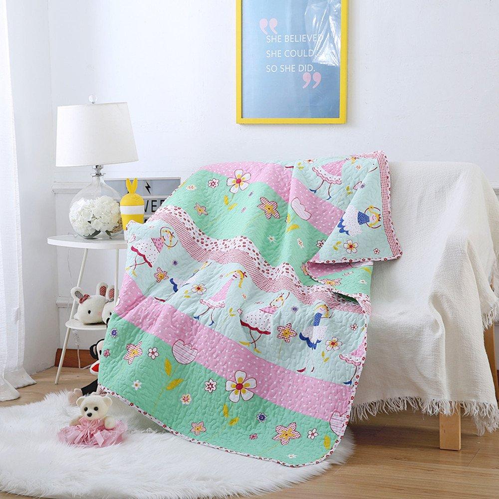Abreeze Dance Girls Pattern Coverlet Polka Dot Quilt Bedspread Throw Blanket for Girl Cotton Bedding 43'' X 51''