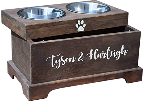 Amazon Com Elevated Dog Feeder And Storage Box Elevated Dog Bowl Rustic Dog Bowl Stand Raised Dog Bowl Raised Dog Feeder Pet Bowl Stand Handmade