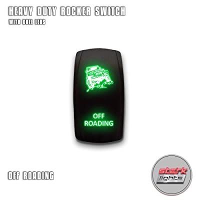 OFF ROADING - Green - STARK 5-PIN Laser Etched LED Rocker Switch Dual Light - 20A 12V ON/OFF: Automotive