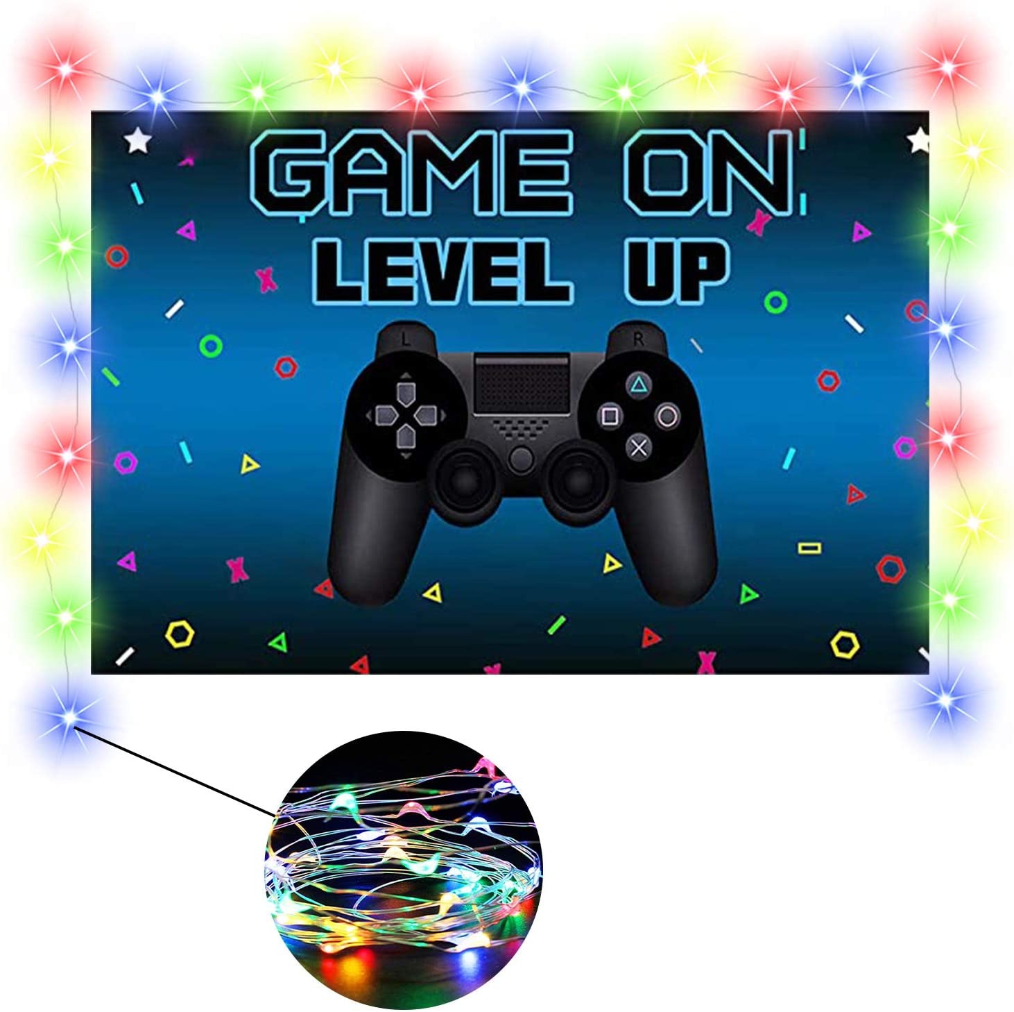 Birthday Party Supplies Decorations for Game Fans, Video Game Backdrop with Led Lights Set for Kids, Happy for Boys, Happy Rainbow Strips String Room Wall Bedroom Decor Photo Background