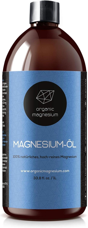 Aceite de magnesio Ultra Pur 1000 ml 100% natural puro aceite de Zechstein de magnesio orgánico, perfecto para deporte y relajación muscular, concentrado de aceite líquido.