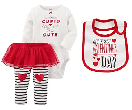 7236b14a9 Carters Baby Girls First Valentines Day Bodysuit With Tutu Pants and Bib  Set (3 Months