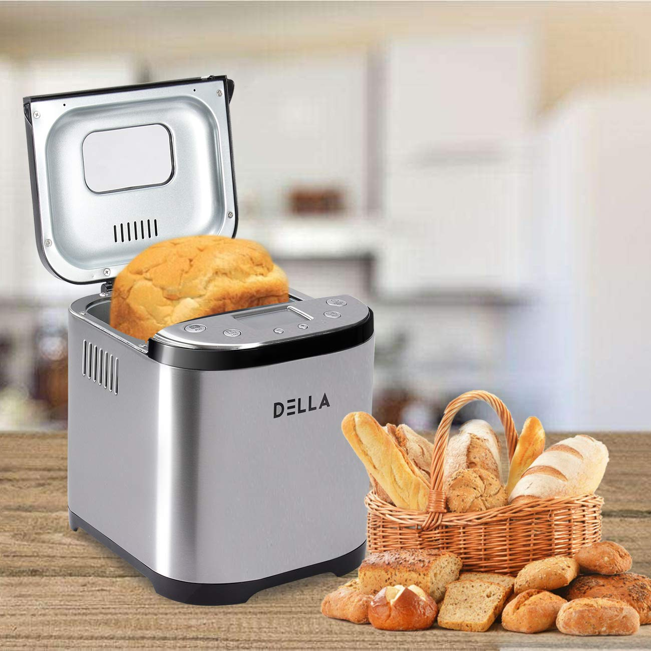 DELLA 2LB Programmable Timer Automatic Multifunctional Bread Maker Kitchen Machine w/ 15 Bread Settings LCD Display, Stainless Steel