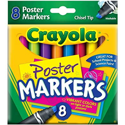 Crayola Poster Markers, Chisel Tip, Washable, 8/Box, Assorted (CYO588173): Toys & Games