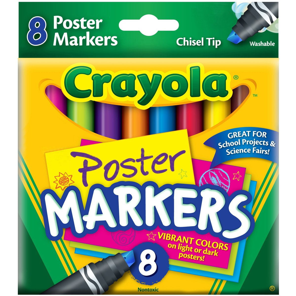 Crayola Poster Markers, Chisel Tip, Washable, 8/Box, Assorted (CYO588173)