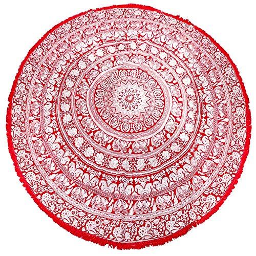 Crimson Round Beach Towel/Throw with White Elephants and Tribal (Delta Elephant)