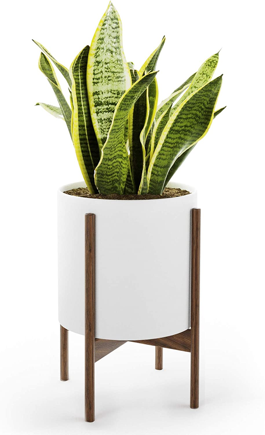 Mid Century Plant Stand with Pot with Drainage - Matte White Ceramic Planter with Wood Plant Stand Made of Walnut - 10 inch Planter - Perfect Pot for Plants Indoor - Planter with Stand NOT Adjustable