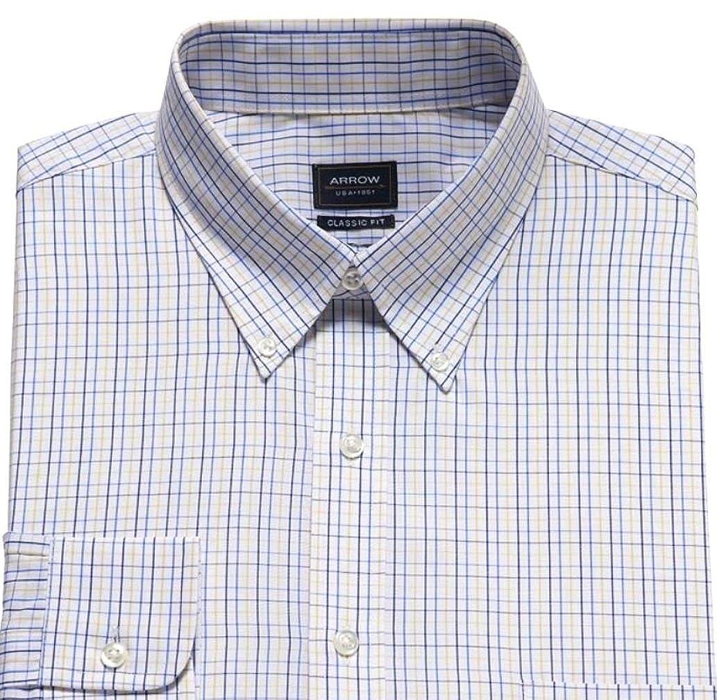 Arrow Mens Classic Fit Poplin Dress Shirt Blue White Fancy At Amazon