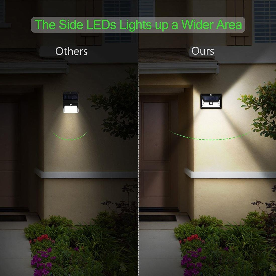 Easy Install Waterproof Security Lights for Front Door Back Yard Coohole 24 LED Motion Sensor Outdoor Solar Lights with Wide Lighting Area Garage Driveway