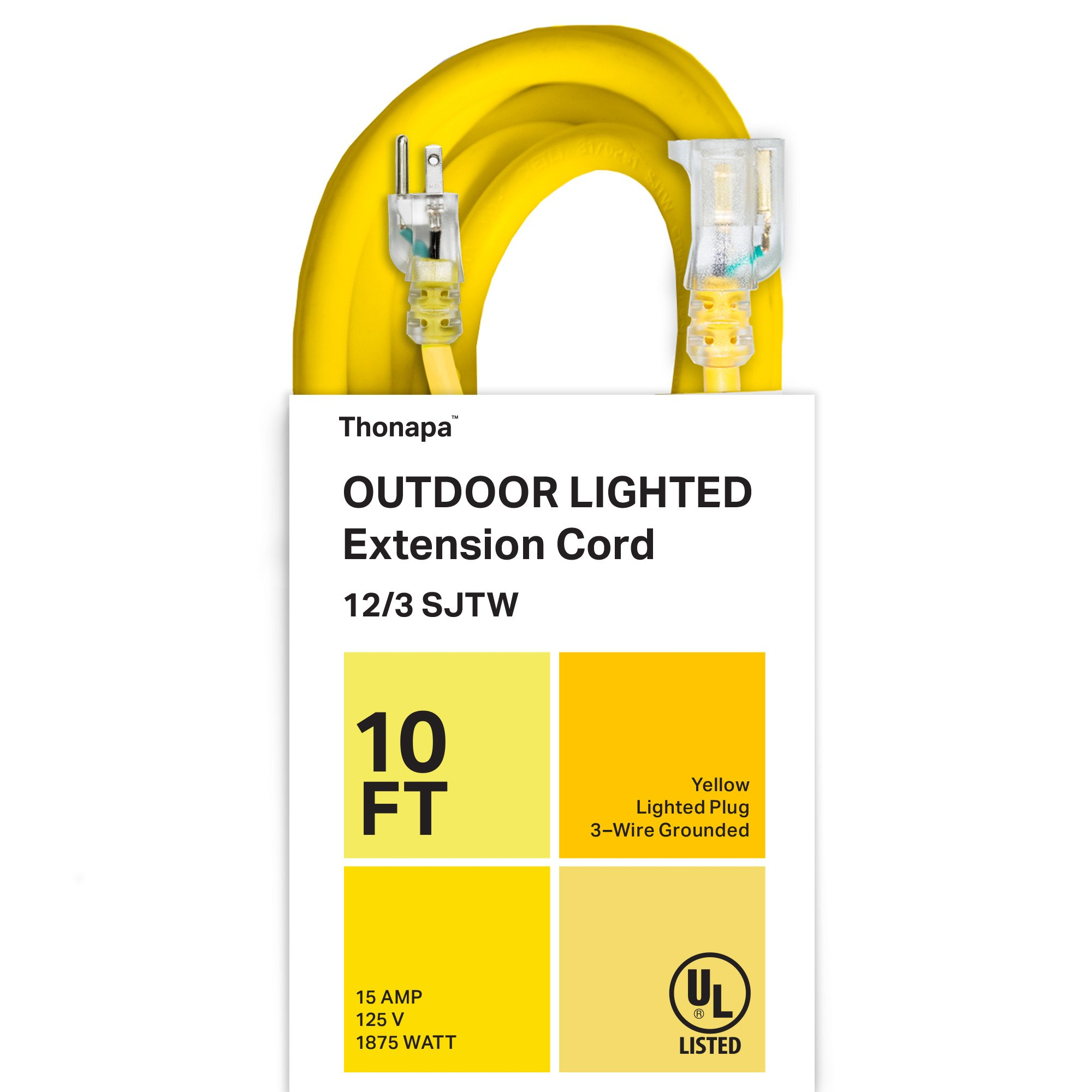 Thonapa 10 Foot Outdoor Extension Cord - 12/3 Heavy Duty Yellow Extension Cable with 3 Prong Grounded Plug for Safety - Great for Garden and Major Appliances