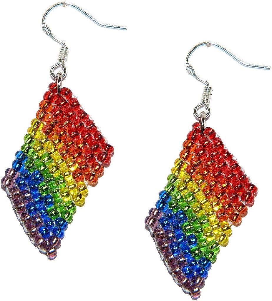 Pendientes, arco iris del orgullo sexualidad, Identidad de género de banderas de abalorios. Joyería de trabajos de abalorios hechos a mano. (J): Amazon.es: Joyería