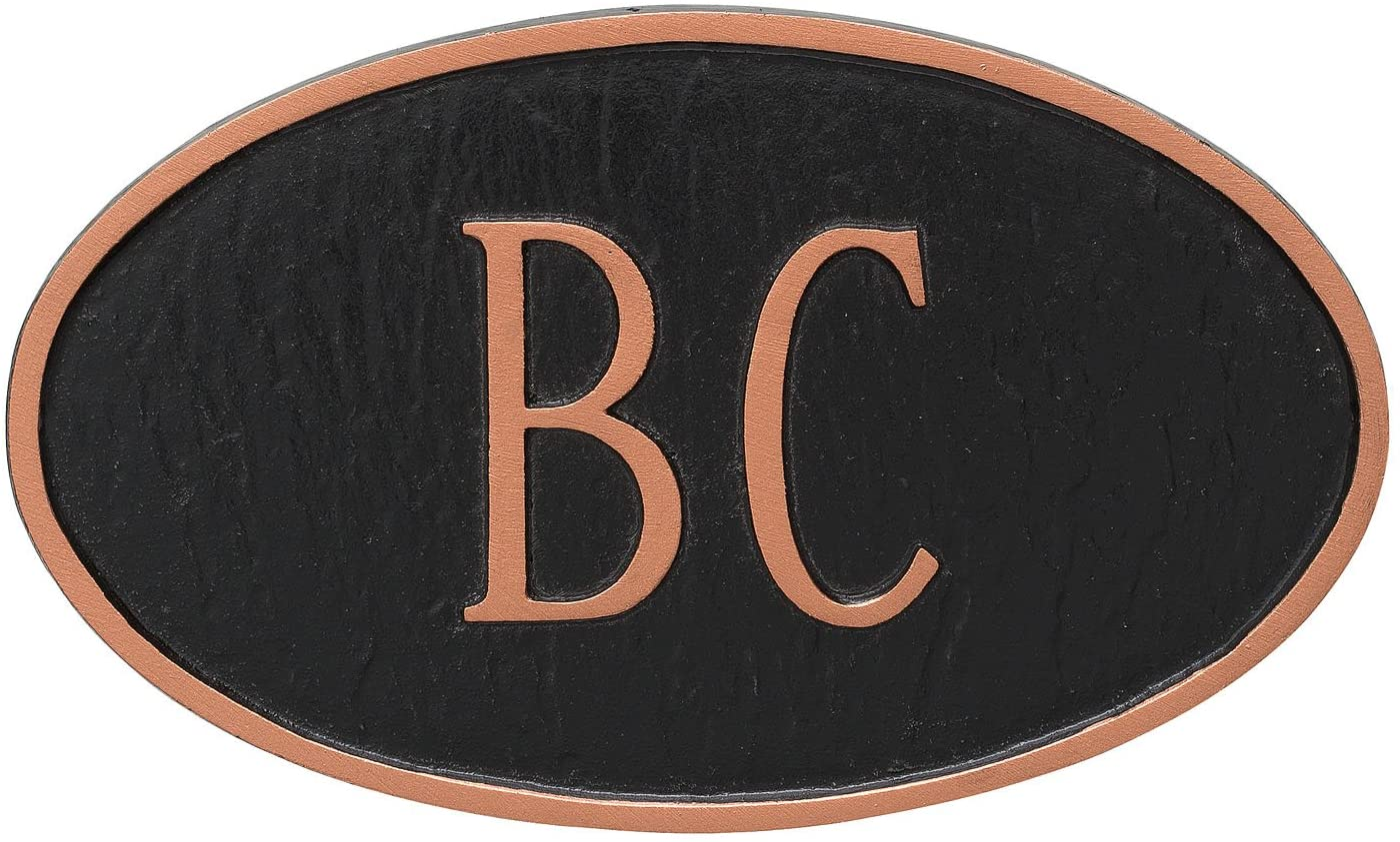 Black//Silver 6.5 x 6.5 Montague Metal Circle Address Sign Plaque with Lawn Stake