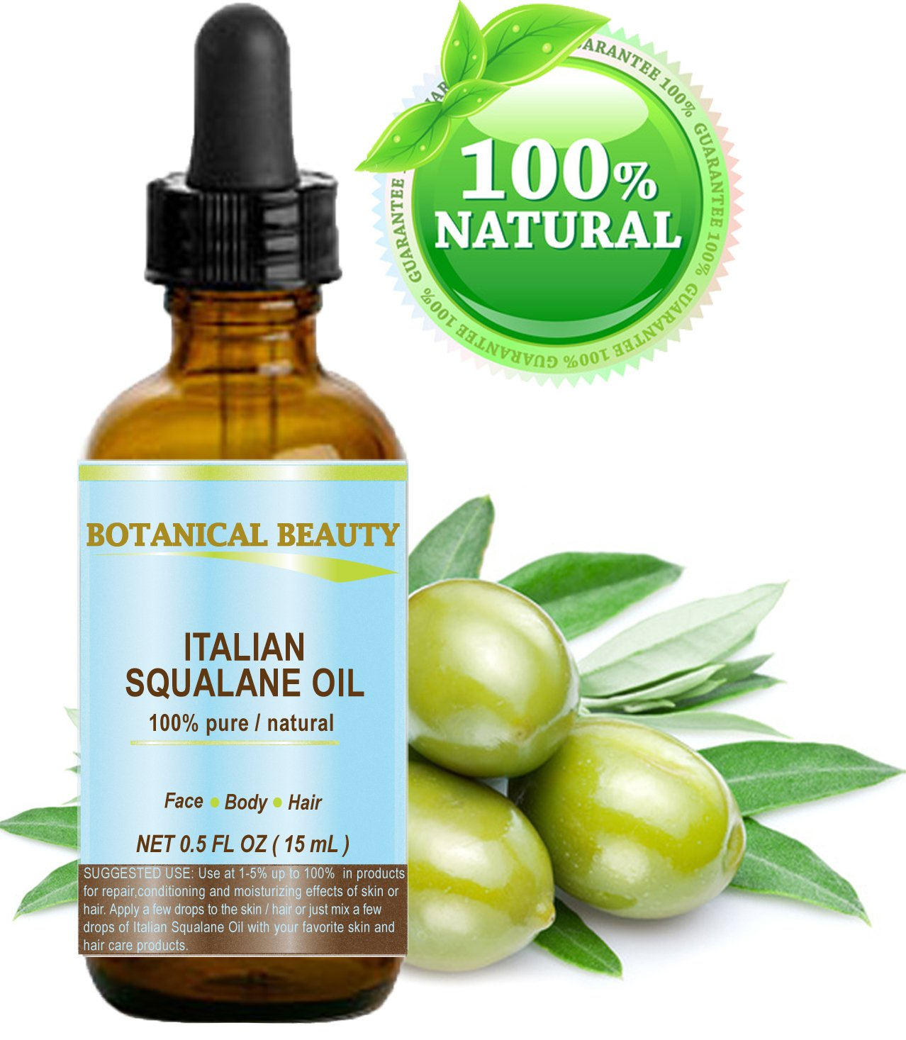 SQUALANE Italian. 100% Pure / Natural / Undiluted Oil. 100% Ultra-Pure Moisturizer for Face , Body & Hair. Reliable 24/7 skincare protection. 0.5 fl.oz- 15 ml. by Botanical Beauty.