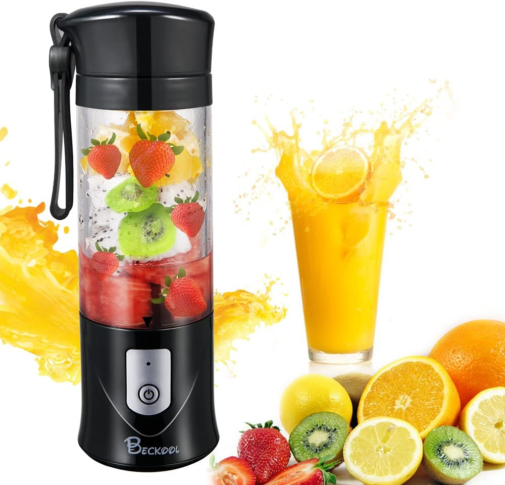 Personal Juicer Blender, Travel Portable USB Mixer Juice Cup with Updated 6 Blades and More Powerful Motor, 13Oz Water Bottle, 4000mAh Rechargeable Battery, Black