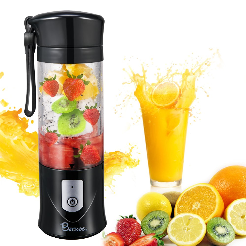 Portable Juicer Blender, Beckool Travel Personal USB Mixer Juice Cup with Updated 6 Blades and More Powerful Motor, 13Oz Bottle, 4000mAh Rechargeable Battery-Black