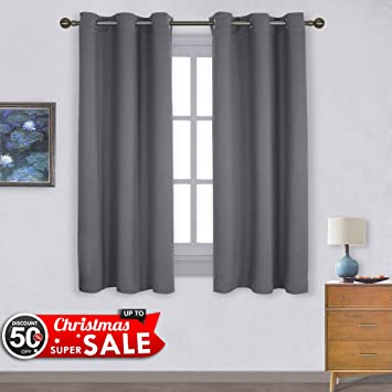 NICETOWN Thermal Insulated Grommet Blackout Curtains For Bedroom (2 Panels,  W42 X L63