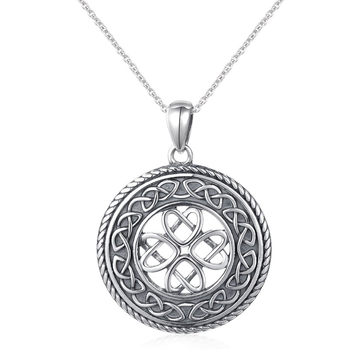 8acfb78ea4ba Amazon.com  925 Sterling Silver Jewelry Oxidized Good Luck Irish Knot Celtic  Medallion Round Pendant Necklace