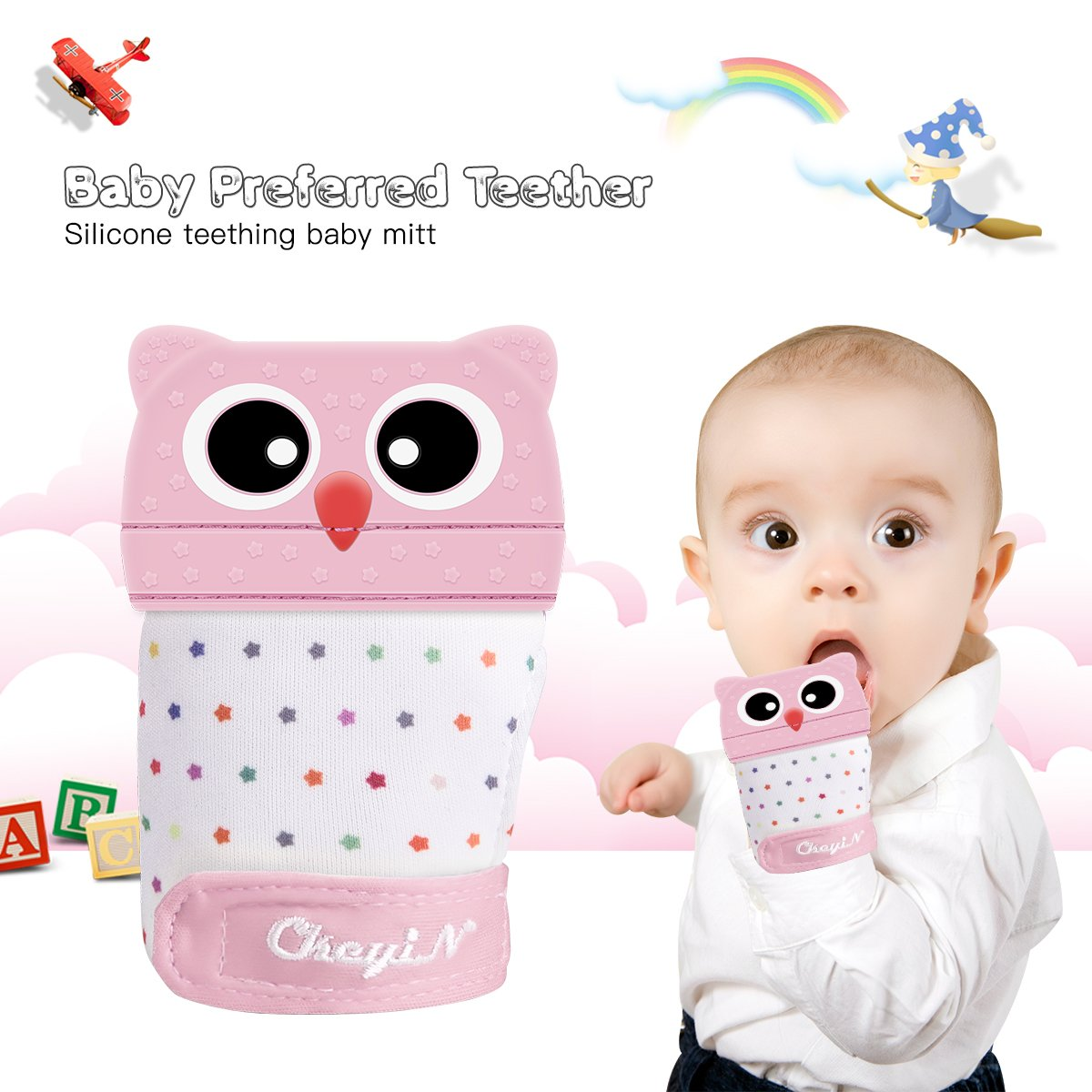 Baby Teething Mitten Silicone Teether BPA Free Washable Durable Gloves Teething