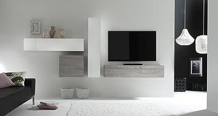 Parete Attrezzata Porta Tv Moderna.Web Convenienza Cube 4 D Bianco Lucido E Rovere Grigio Parete